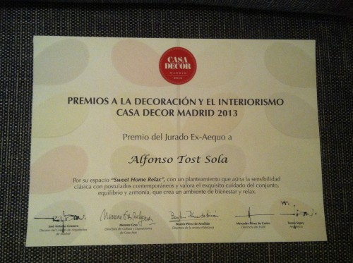 Diploma premio Casa Decor Madrid 2013
